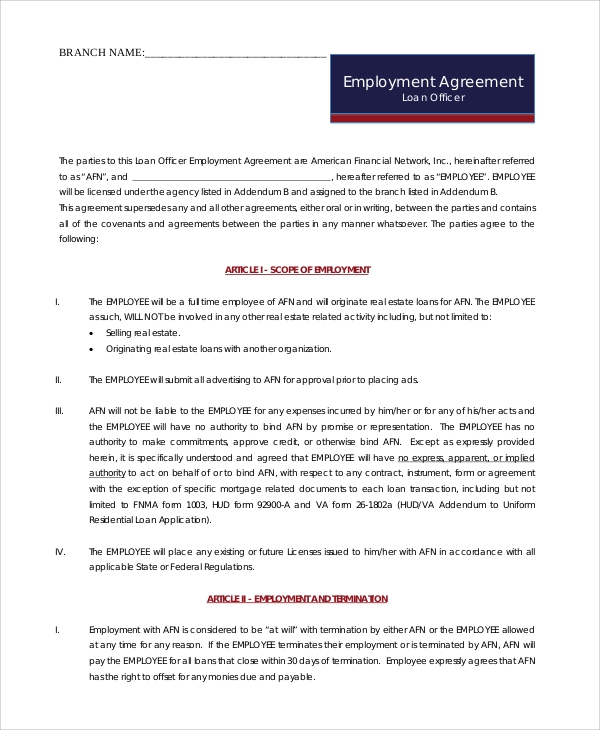 Sample Sales Employment Agreement   Examples In Pdf Word