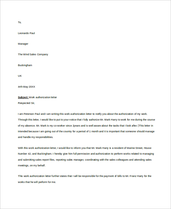 work authorization letter example