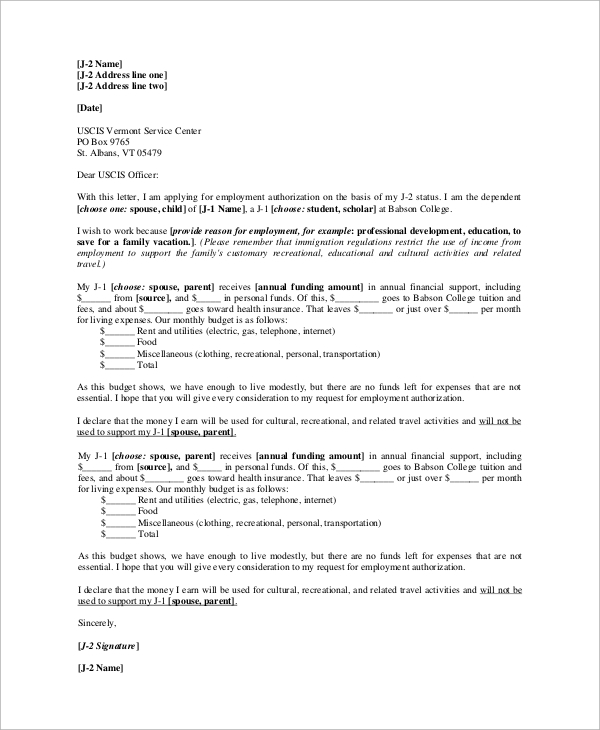 sample work authorization letter