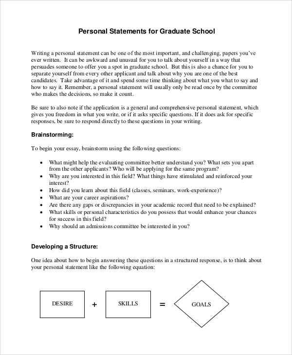 Personal statement writers examples for university pdf