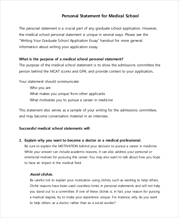 personal statement med essay A personal statement is not a cv or a resume don't wallow in why you went to med school: click here to see some sample personal statements.
