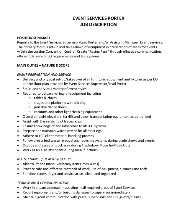 Sample Porter Job Description   Examples In Word Pdf
