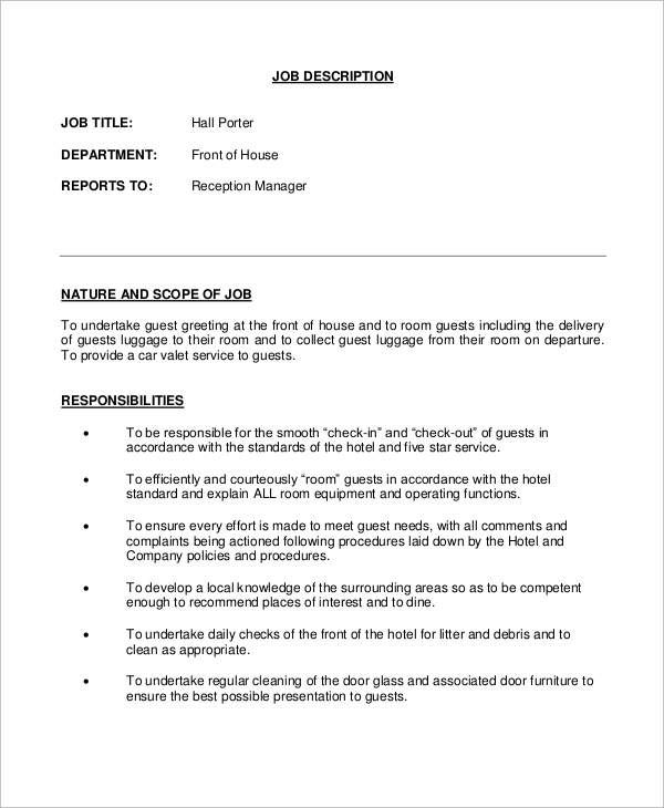 porter description best resumes