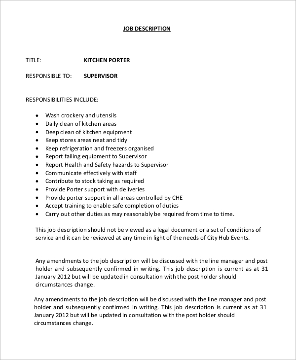 Sample porter job description 10 examples in word pdf for Kitchen job description