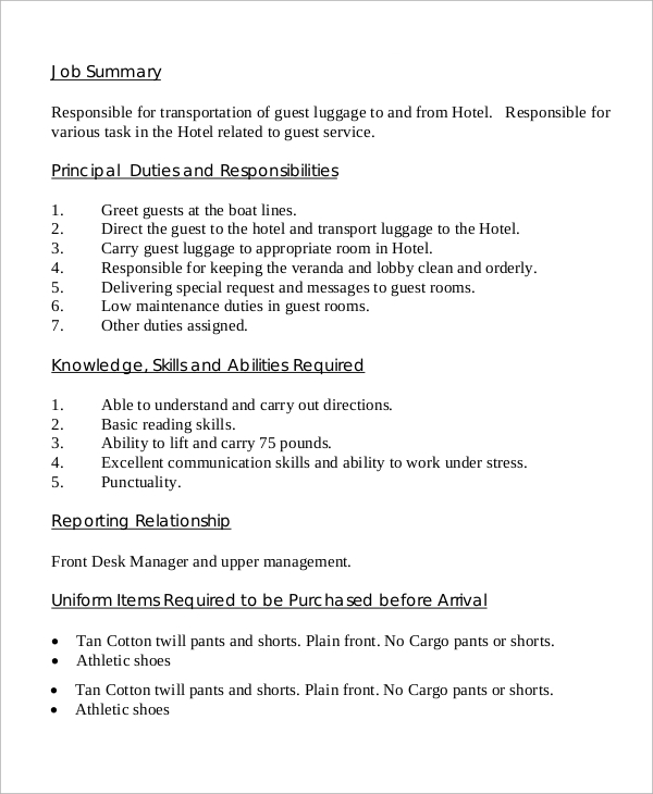 dock porter job description sample