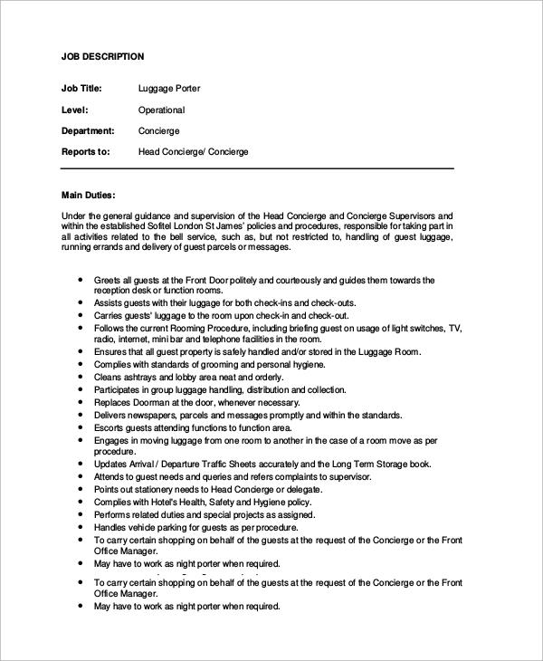 Sample Porter Job Description 10 Examples in Word PDF – Concierge Job Description