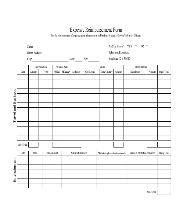 Mileage Expense Reimbursement Form