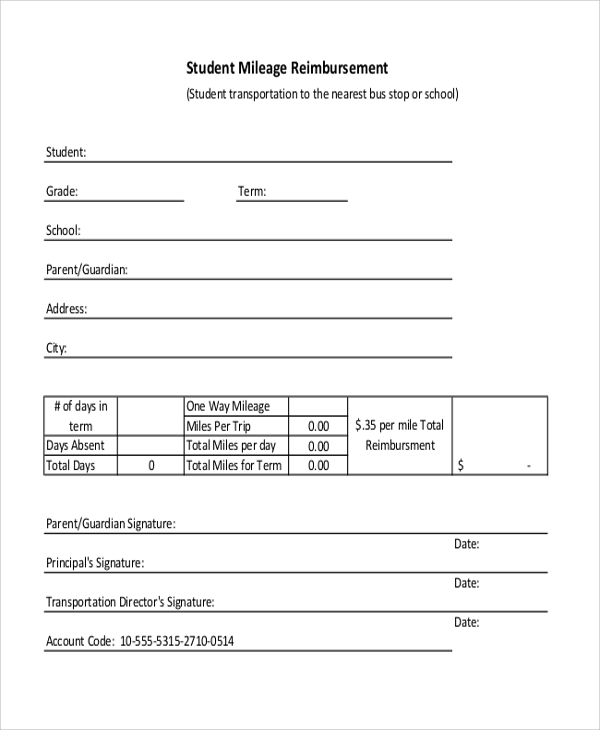 Student Mileage Reimbursement Form