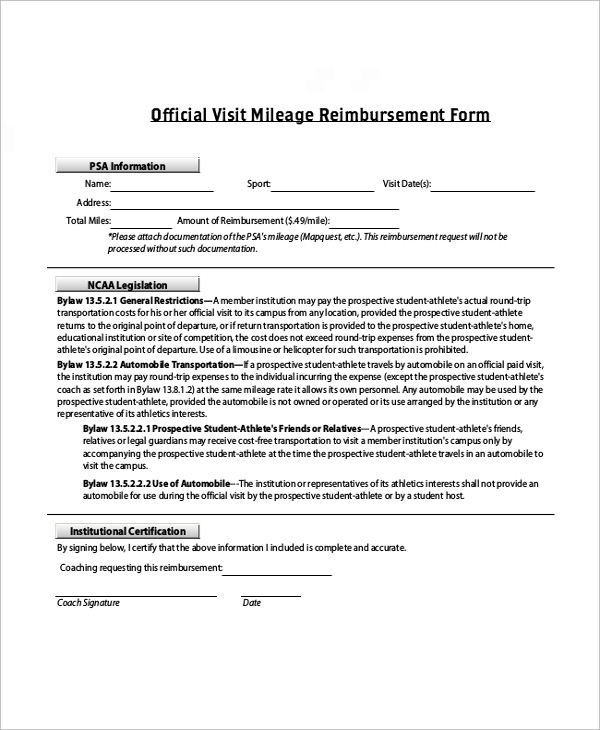 Sample Mileage Reimbursement Form 11 Examples in Word PDF Excel – Mileage Reimbursement Forms