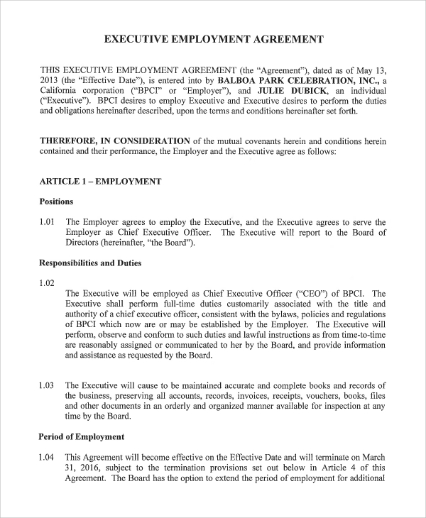 Standard Employment Agreement Sample 8 Examples in PDF Word – Executive Employment Agreement