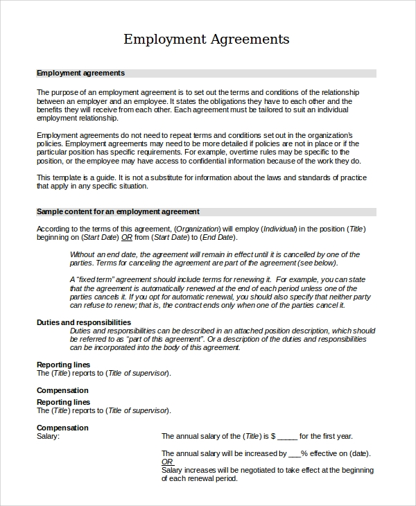 Standard Employment Agreement Sample   Examples In Pdf Word