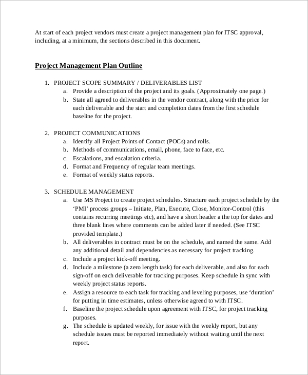 Sample Project Management Plan   Examples In Word Pdf