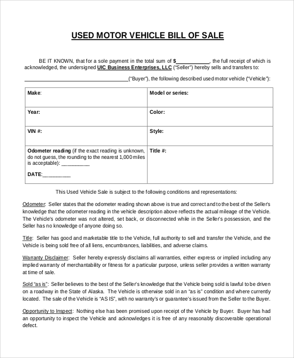 used motor vehicle bill of sale