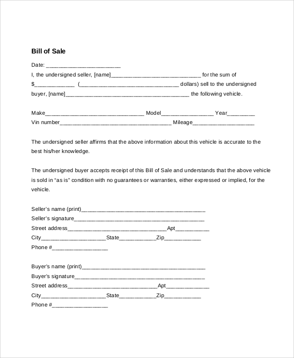 blank bill of sale for vehicle