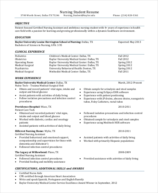 nursing student resume objective example