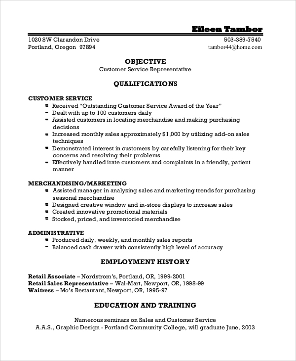 customer service resume objective example