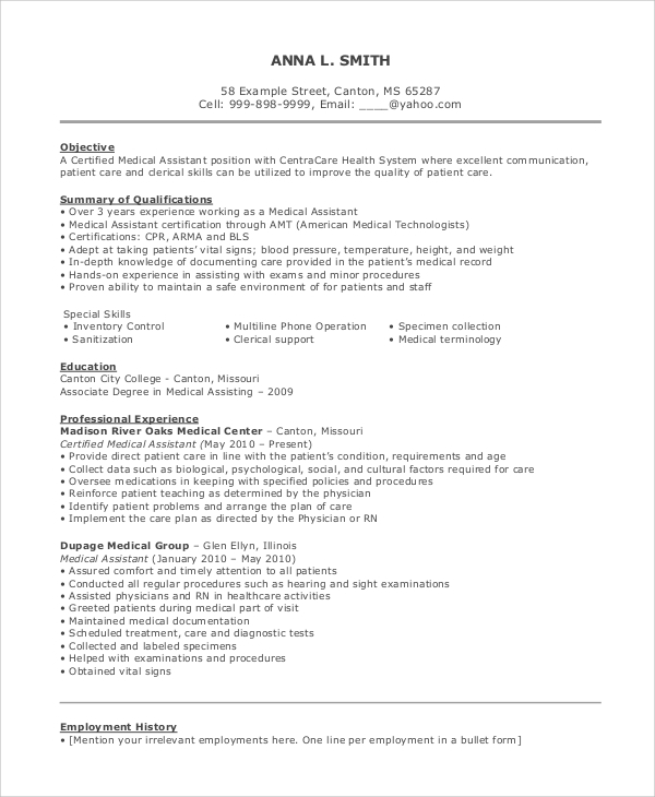 medical assistant resume objective example