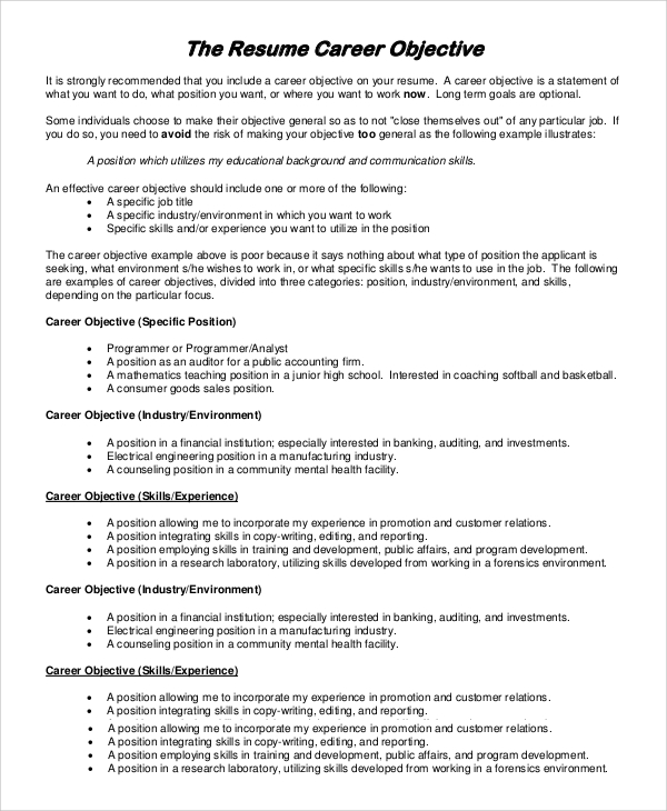 Resume Objective Example 8 Samples in PDF Word