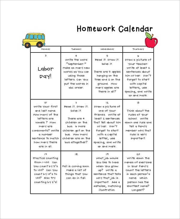Sample Homework Calendar - 9+ Examples In Pdf