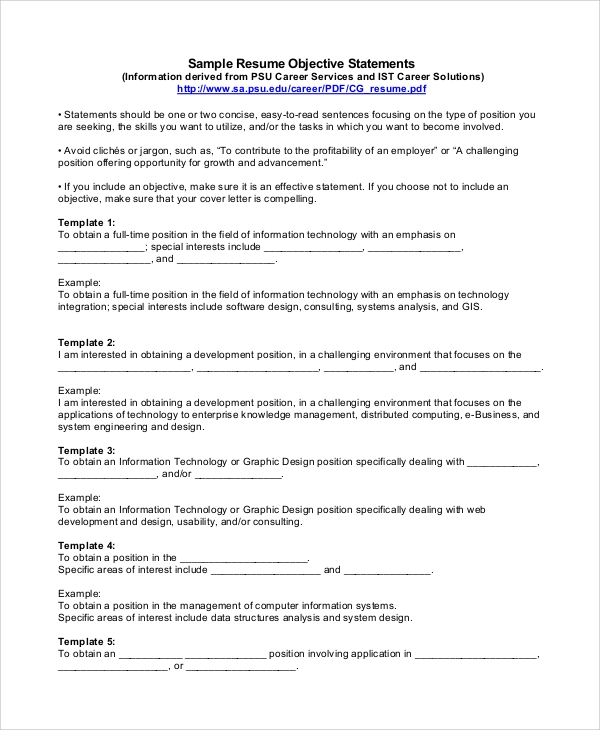 Resume Objective Statements Examples Of Resume Objective Resume