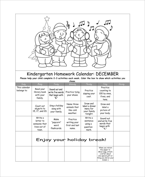Sample Homework Calendar   Examples In Pdf