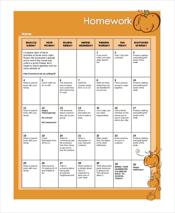 class homework calendar