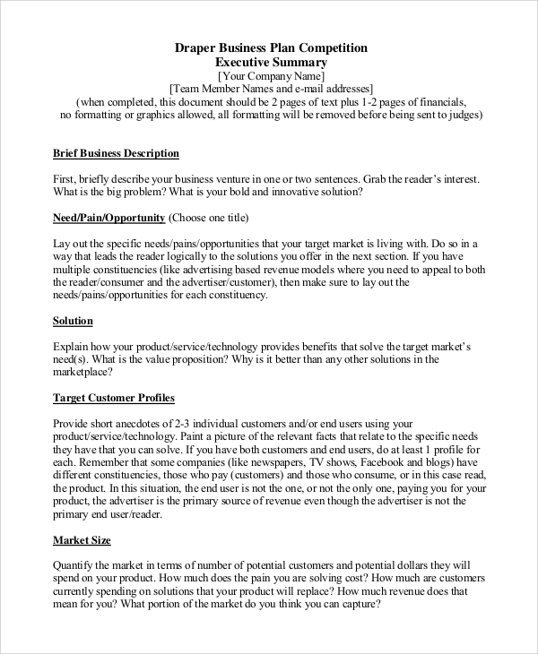 Sample Executive Summary Business Plan