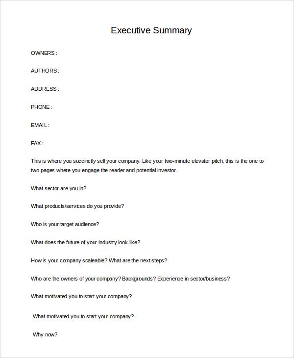 blank business executive summary