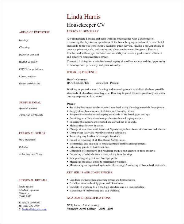 hotel housekeeping resume