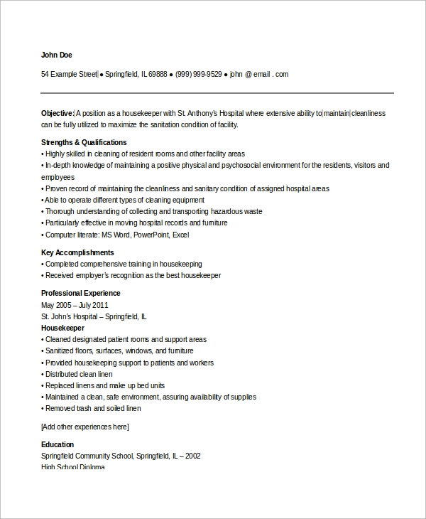 Hospital housekeeping resume examples
