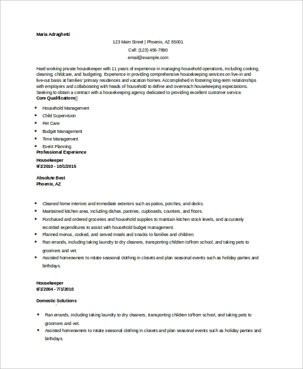 Sample Housekeeping Resume 7 Examples in Word PDF – Sample Housekeeping Resume