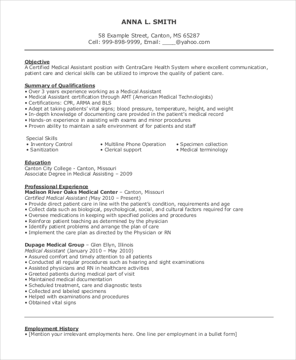 Medical Assistant Resume Objective Statement1