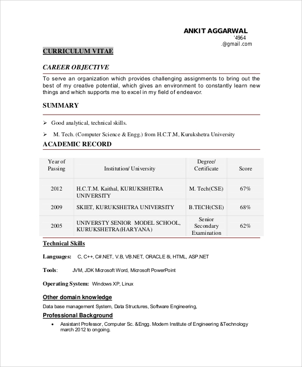 Sample Objective For Resume 10 Examples in Word PDF – Software Engineer Resume Objective