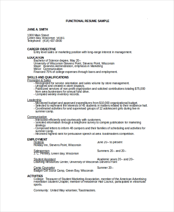 sports marketing resume objectives