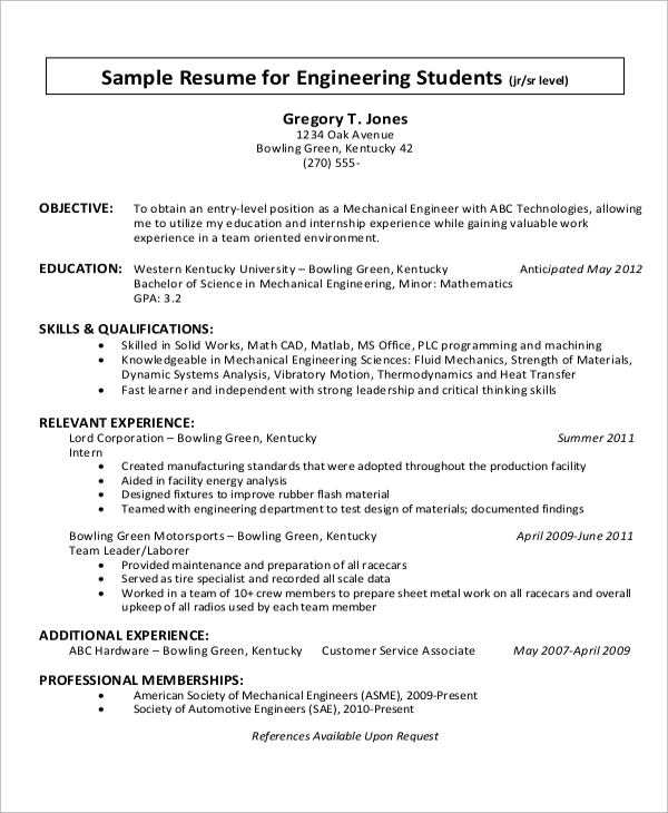 Career Objective For Mechanical Engineer Resume