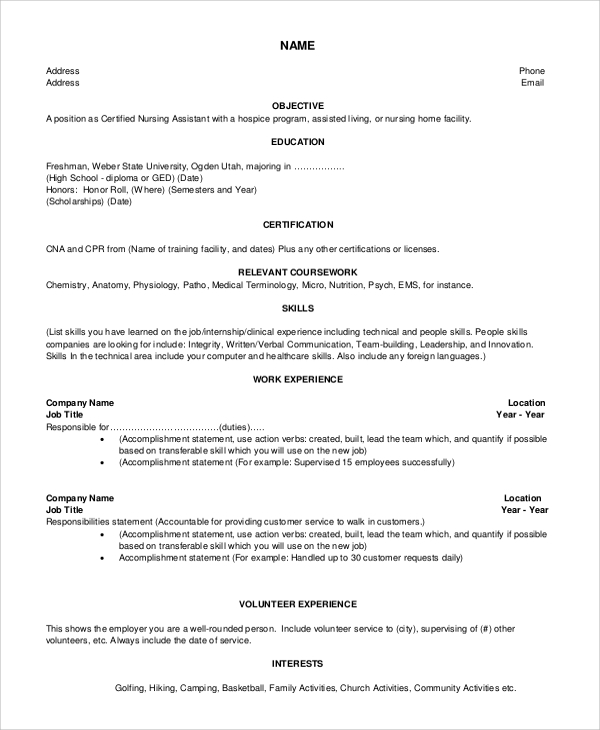 nursing assistant resume objective