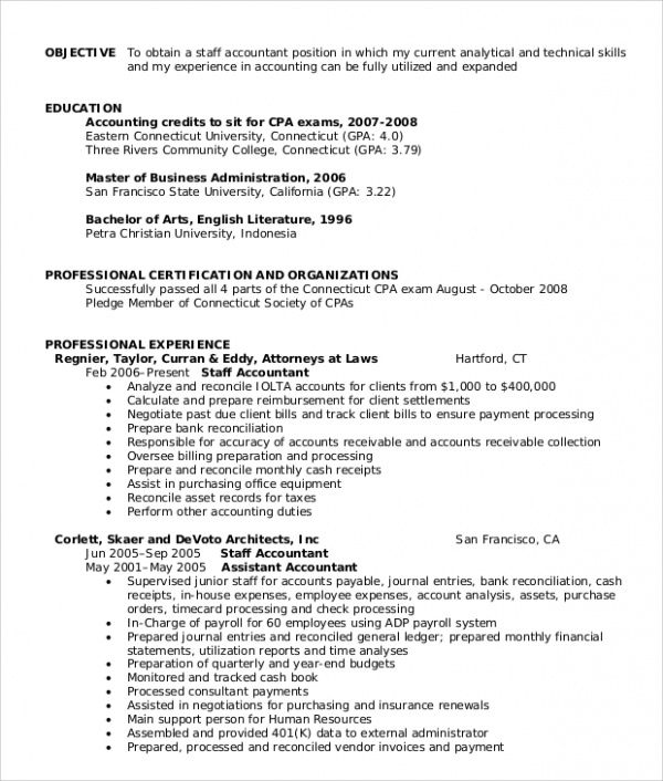 staff accountant resume description for accounting resume