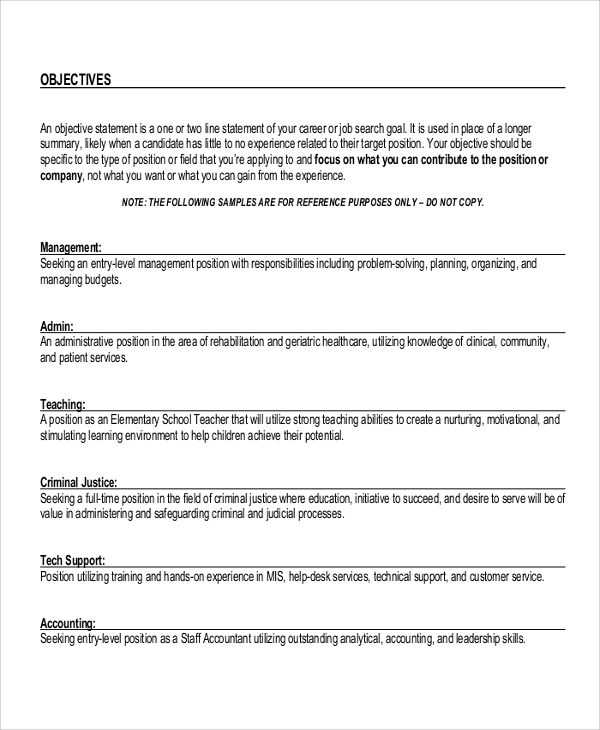 Sample Objective For Resume   Examples In Word Pdf