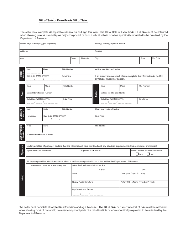 Sample Car Bill Of Sale   Examples In Word Pdf