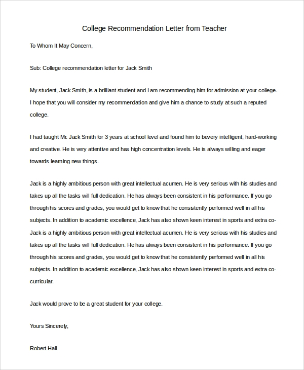 college recommendation letter from teacher2