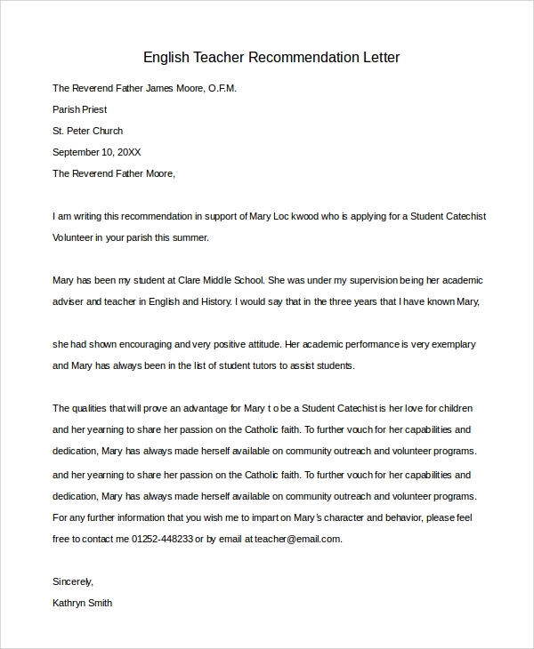 Sample Letter Of Recommendation For Teacher 8 Examples