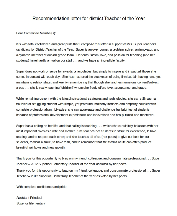 Sample Letter Of Recommendation For Teacher   Examples In Pdf Word