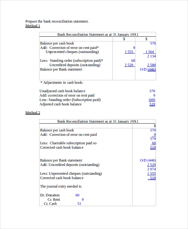 Bank Reconciliation Example 7 Samples in Word PDF Excel – Bank Reconciliation Form