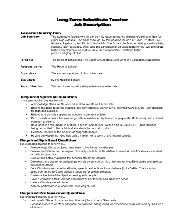 Sample Substitute Teacher Job Description   Examples In Pdf Word