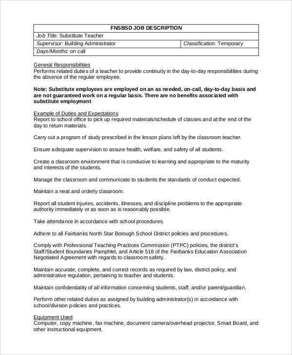 Free 8 Sample Substitute Teacher Job Description