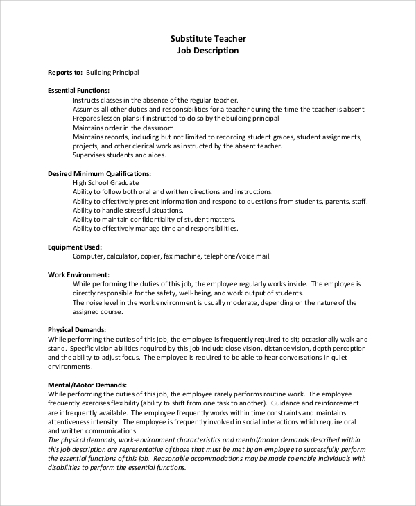 Sample Substitute Teacher Job Description - 8+ Examples In Pdf, Word