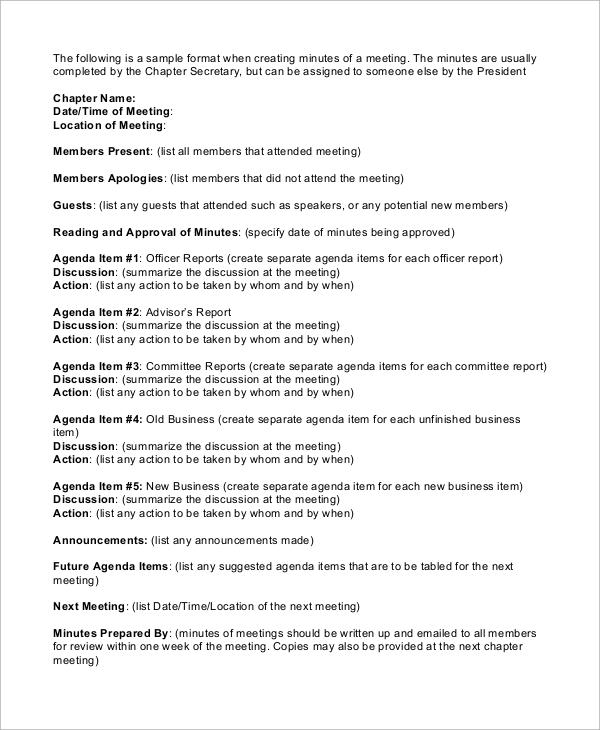 minutes meeting agenda format