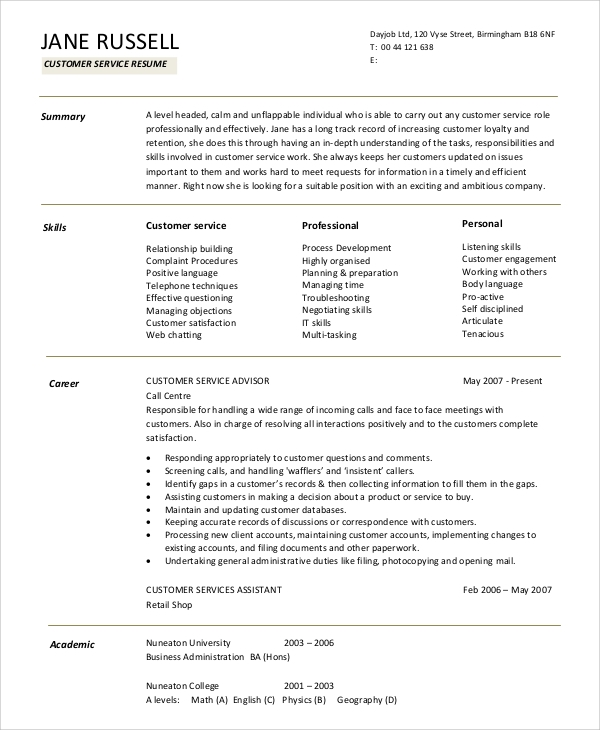 Customer Service Resume Summary Statement  Customer Service Resume
