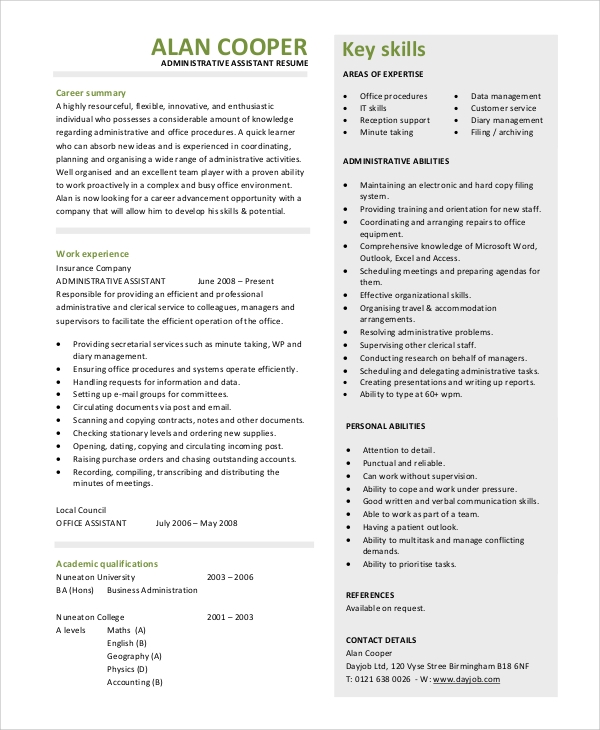 Sample Resume Summary Statement
