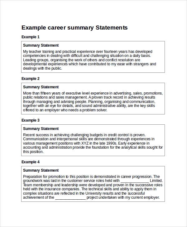 Examples Of Summary Statements For Resumes  Template